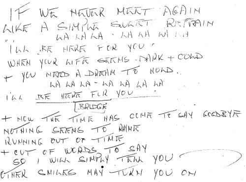 Petula's own handwritten lyric sheet for Here For You