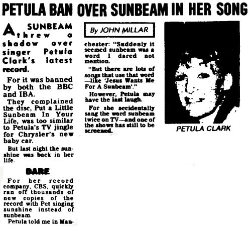 Petula Ban Over Sunbeam In Her Song from the Scottish Daily Record